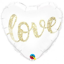 GLOBO FOIL CORAZON BLANCO LOVE